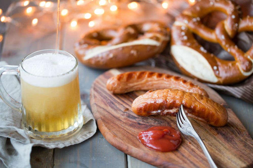 Eating Bavarian sausages