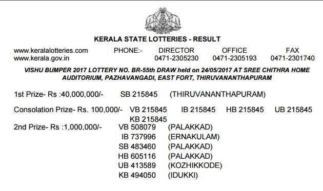 vishu bumper 2017: Kerala state lottery result of Vishu Bumper 2017