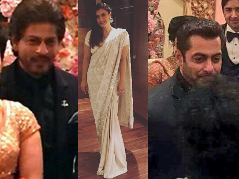 Salman Khan SRK And Kajol Raise The Glamour Quotient At Ravi Shankar Prasads Daughters Wedding Reception