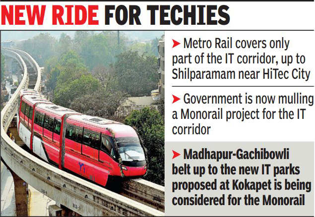 Government mulls Monorail project for technical belt   Hyderabad