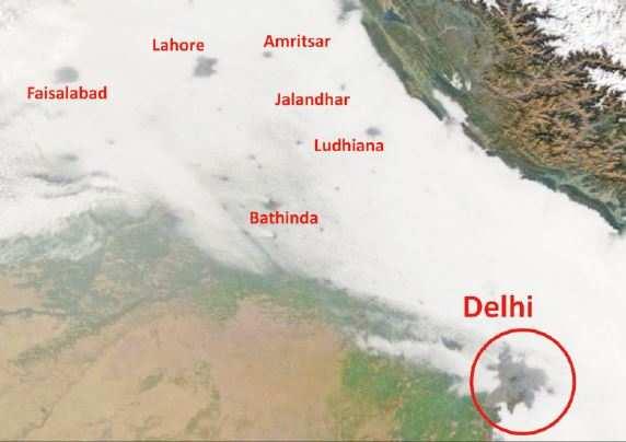 Urban heat island burns hole in fog over Delhi