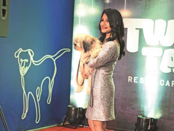 Saipooja was spotted with her pet at the launch of Twisty Tails resto-café in Chennai |