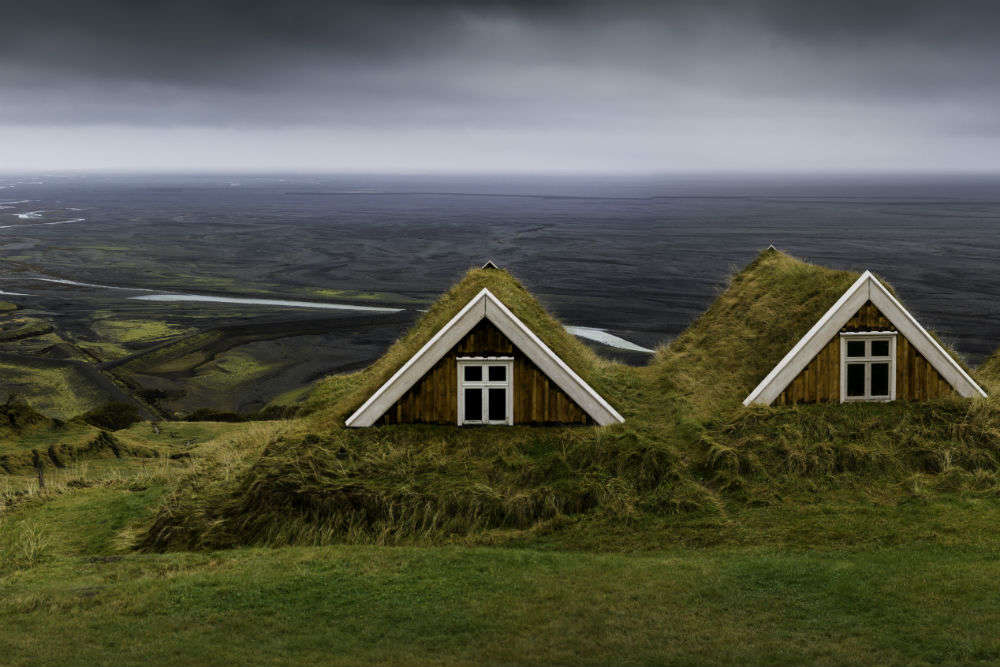 These turf homes in Iceland have been the homes of Vikings, Norse, and British settlers
