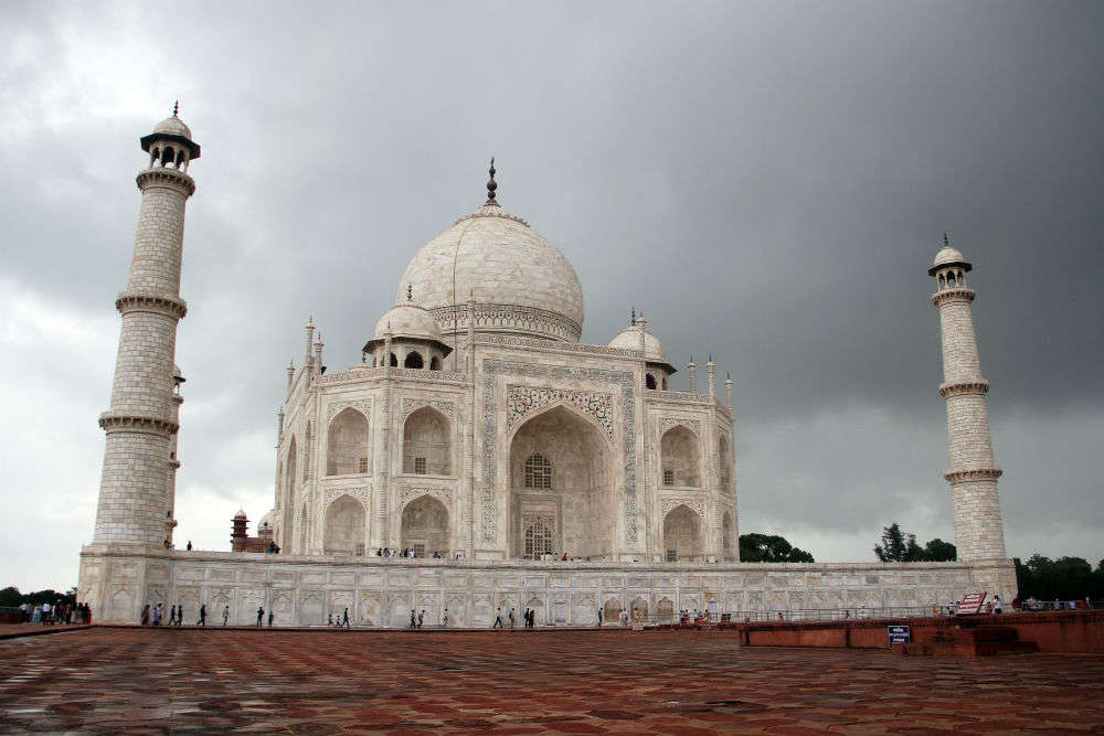 Minaret inside the Taj Mahal destroyed due to heavy rains and storm in Agra