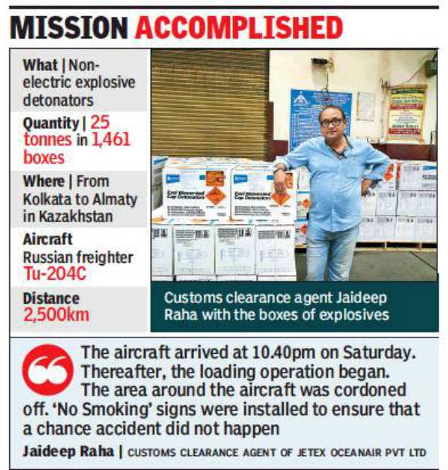 25 tonnes of explosives on plane   but all legal | Kolkata