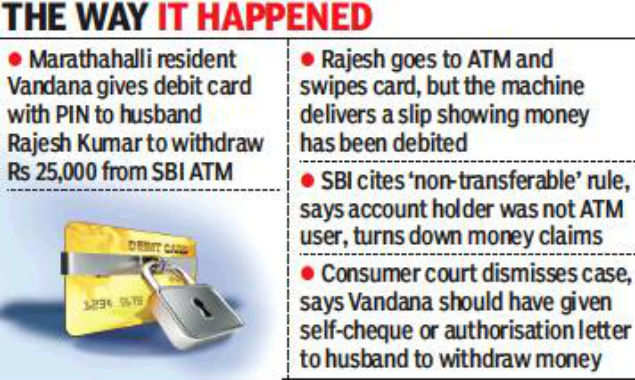 SBI says husband can't use wife's debit card, court agrees