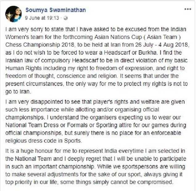 Soumya Swaminathan: Indian chess star says no to headscarf