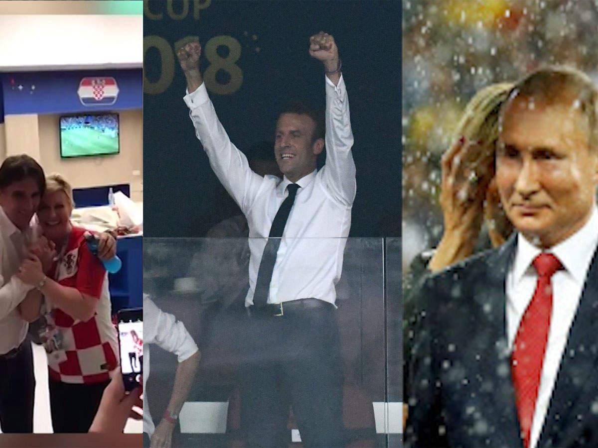 Fifa 2018 When French President Emmanuel Macron Croatia S Kitarovic And Vladimir Putin Turned Into Football Fans Sports Times Of India Videos
