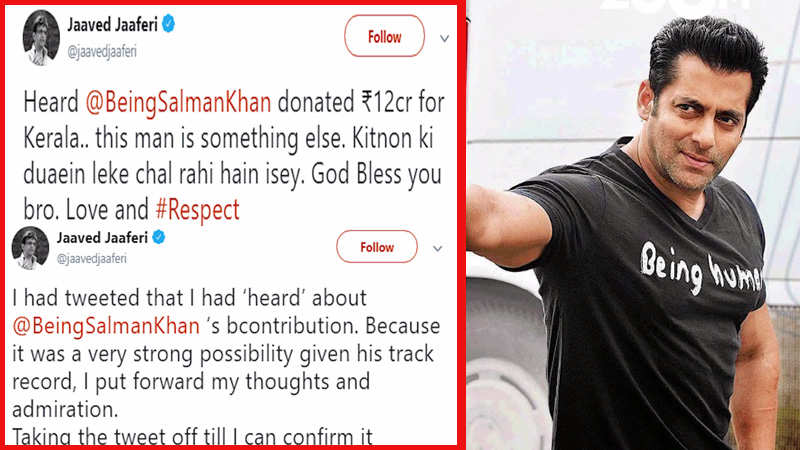 Jaaved Jaaferi Tweets About Salman Khan S Rs 12 Crore Donation To Kerala Flood Victims Gets Trolled Hindi Movie News Bollywood Times Of India