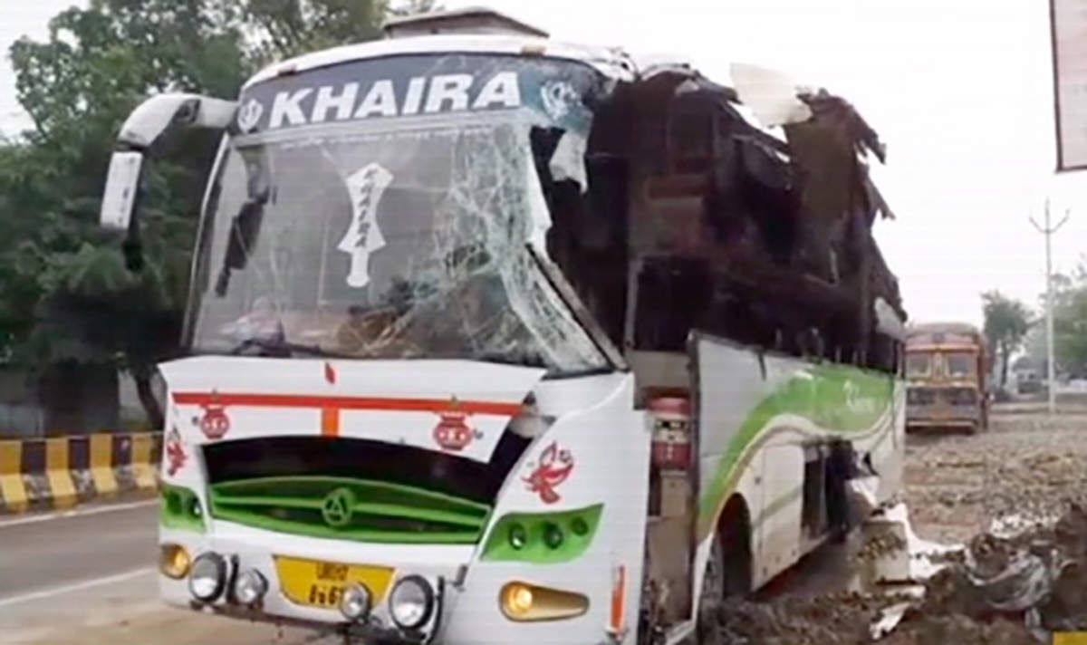 Up 3 Dead 8 Injured After Bus Collides With Tractor In Moradabad City Times Of India Videos