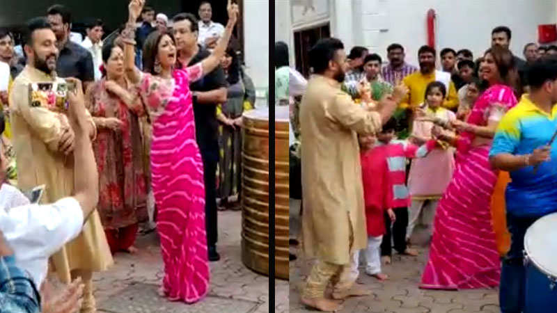 Shilpa Shetty and husband Raj Kundra bid goodbye to Ganpati with music and  dance