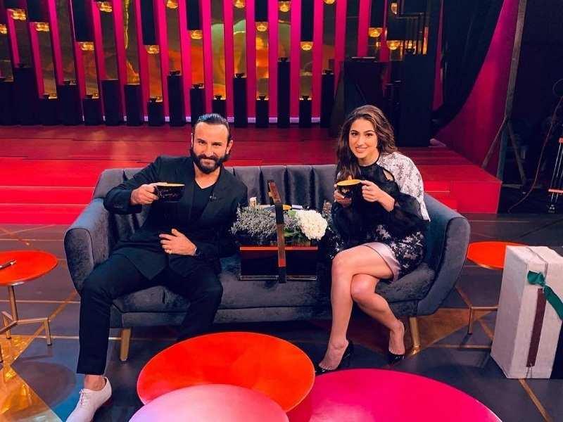 Sara Ali Khan and Saif Ali Khan shoot for Koffee With Karan 6