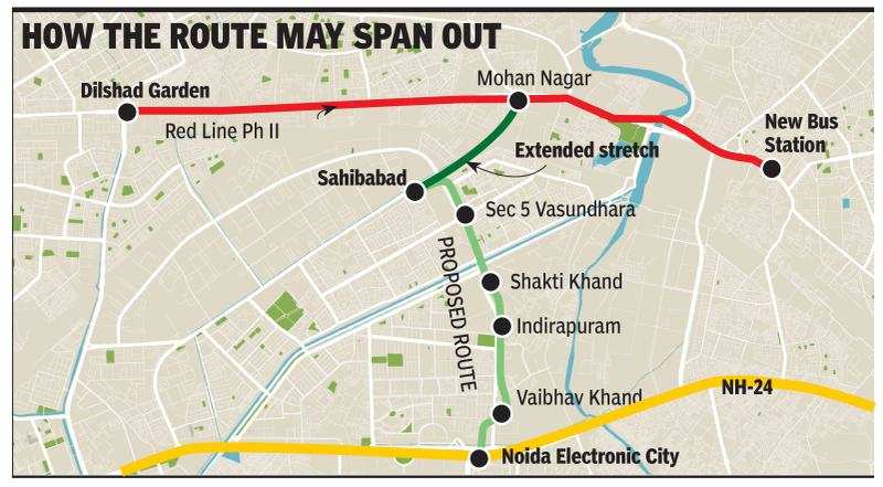 Noida-Sahibabad metro line: Noida-Sahibabad metro line may stretch