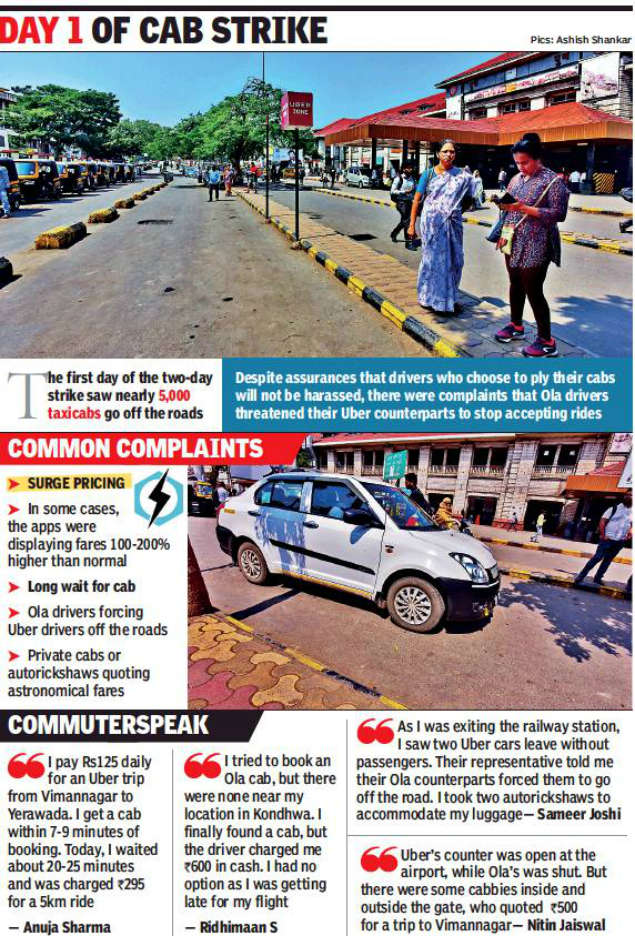 OLA Uber Strike: Pune: Commuters fume as cabbies & auto