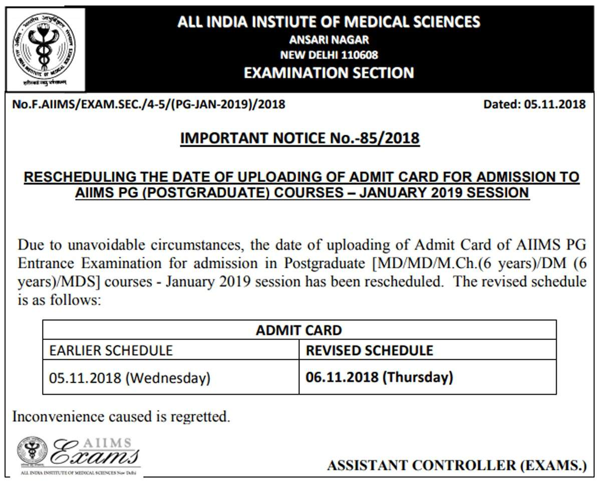AIIMS PG Admit Card 2019 for January session exam released