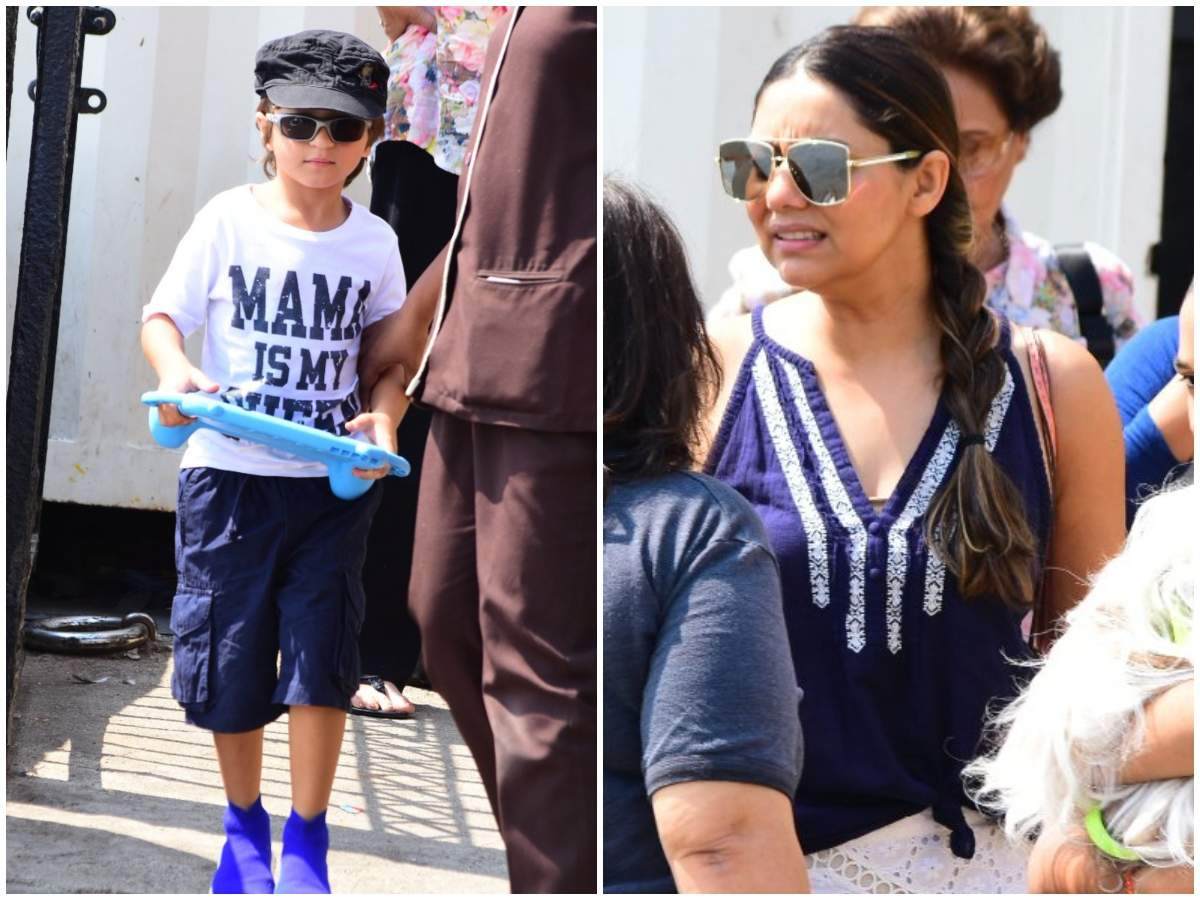 Photos: Gauri Khan and AbRam Khan spotted on their way to Alibaug - Times of India