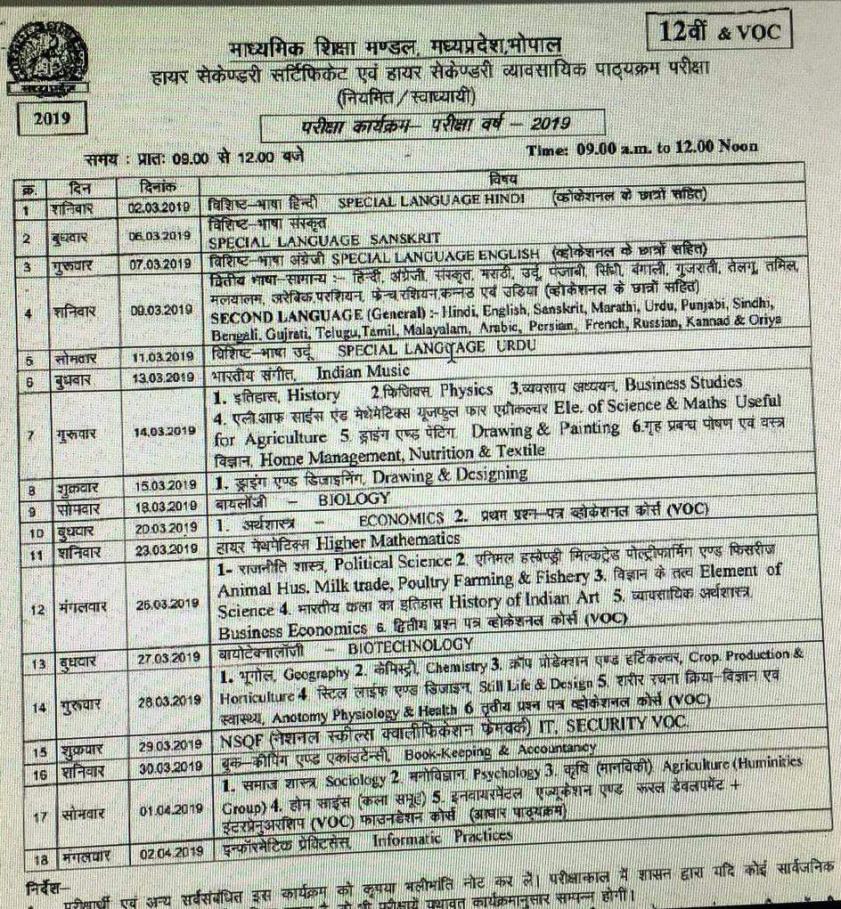 MP Board 10th & 12th Timetable 2019 released at mpbse nic in - Times