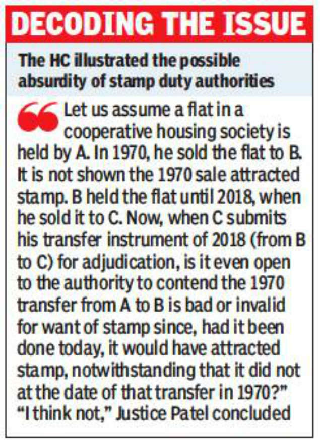 Stamp duty cannot be charged in retrospect on resale of old