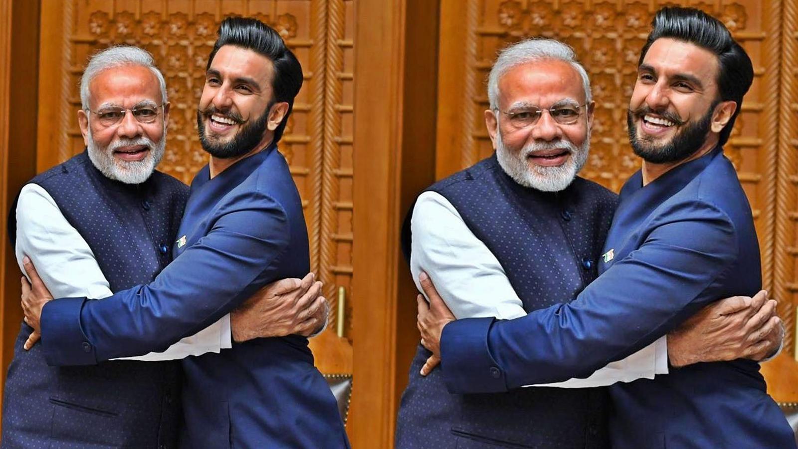 Ranveer Singh gives 'Jaadoo ki Jhappi' to PM Narendra Modi