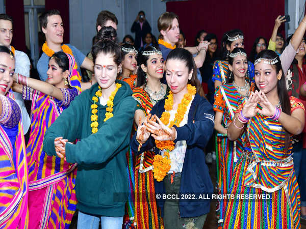 Foreign students enjoy the Rajasthani culture as IIS University as part of a cultural exchange program