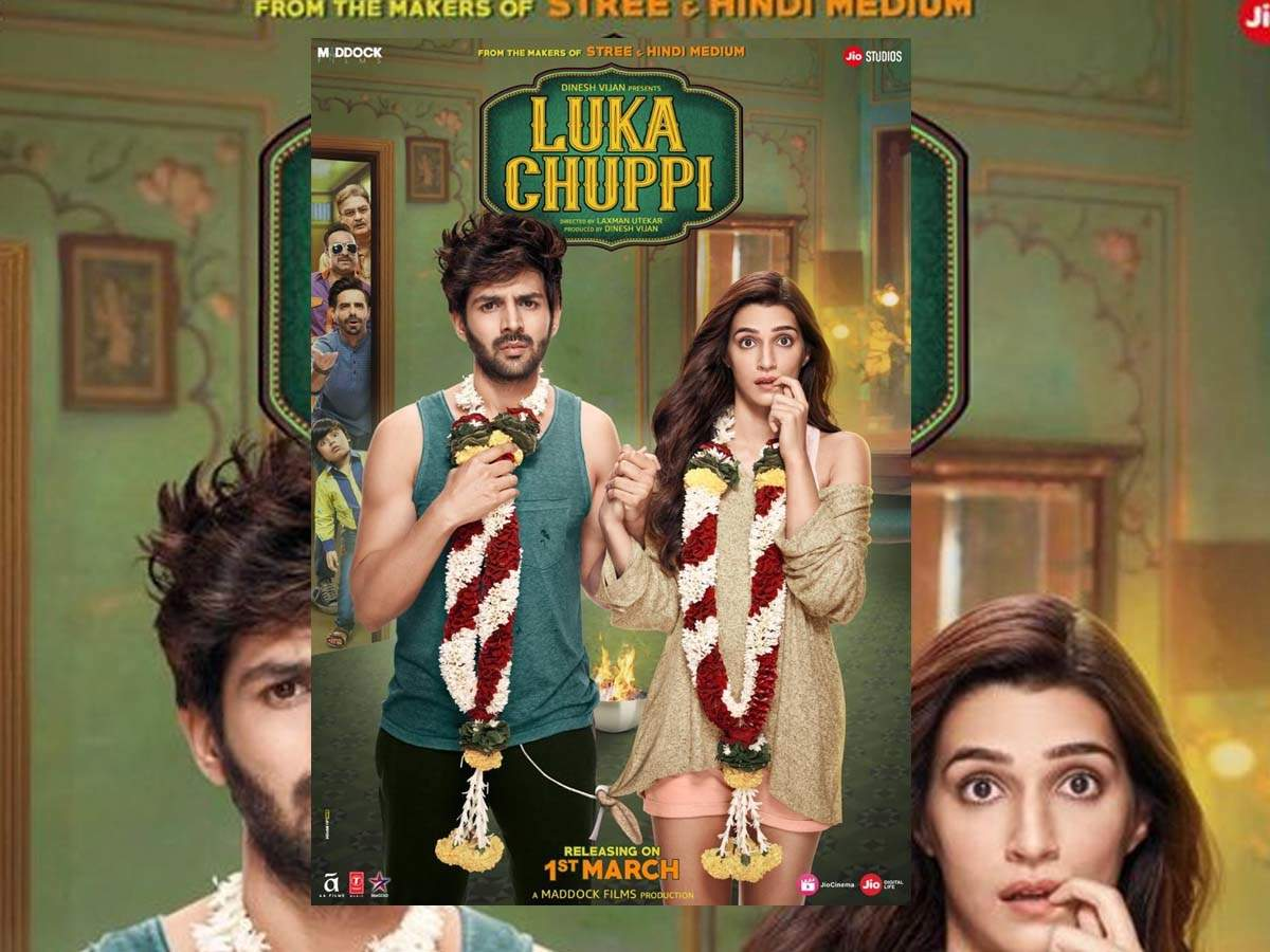 Image result for 'Luka Chuppi' posters out: Kartik Aaryan and Kriti Sanon reveal when the film's trailer will be out!