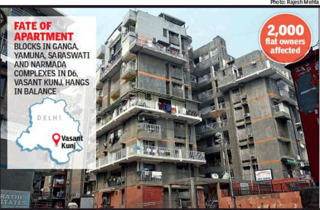 Delhi: In flight path, 2,000 Vasant Kunj flats are grounded