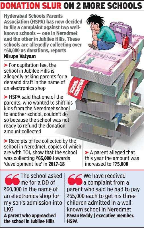 Hyderabad: Sloka school refunds Rs 1 2 lakh capitation fee