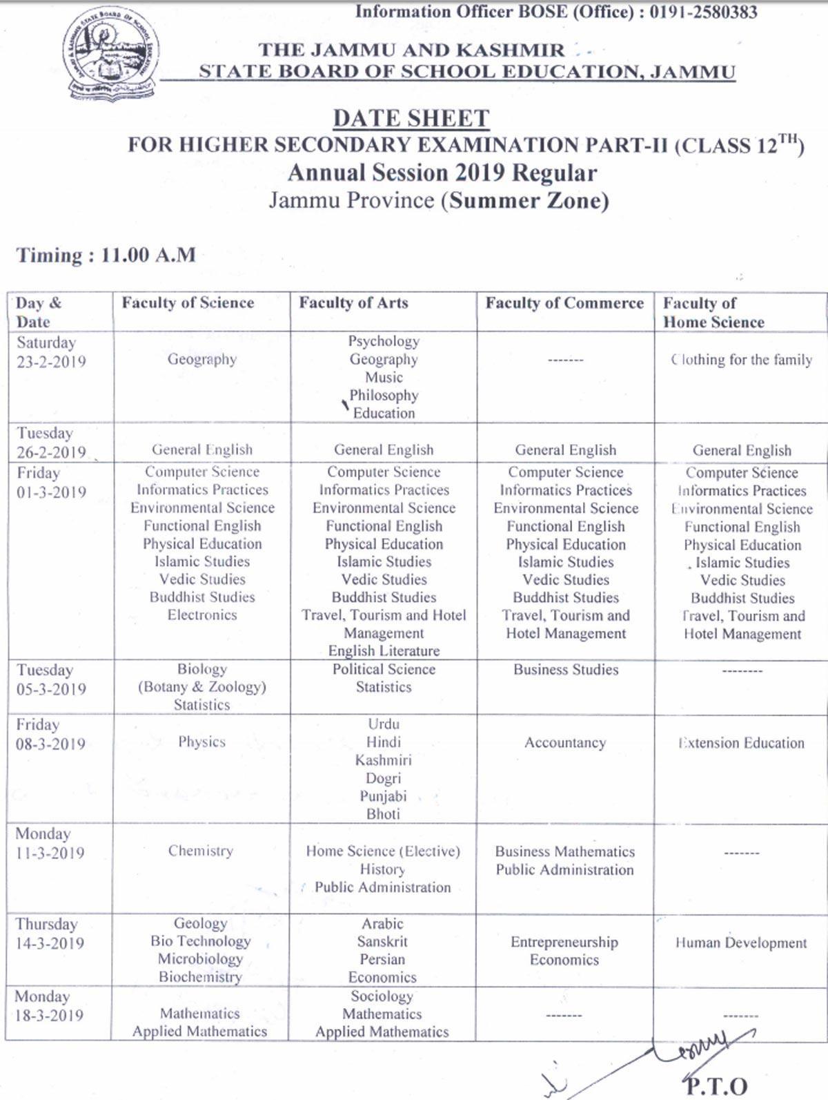 JKBOSE revised datesheet for Jammu division class 12 exam 2019