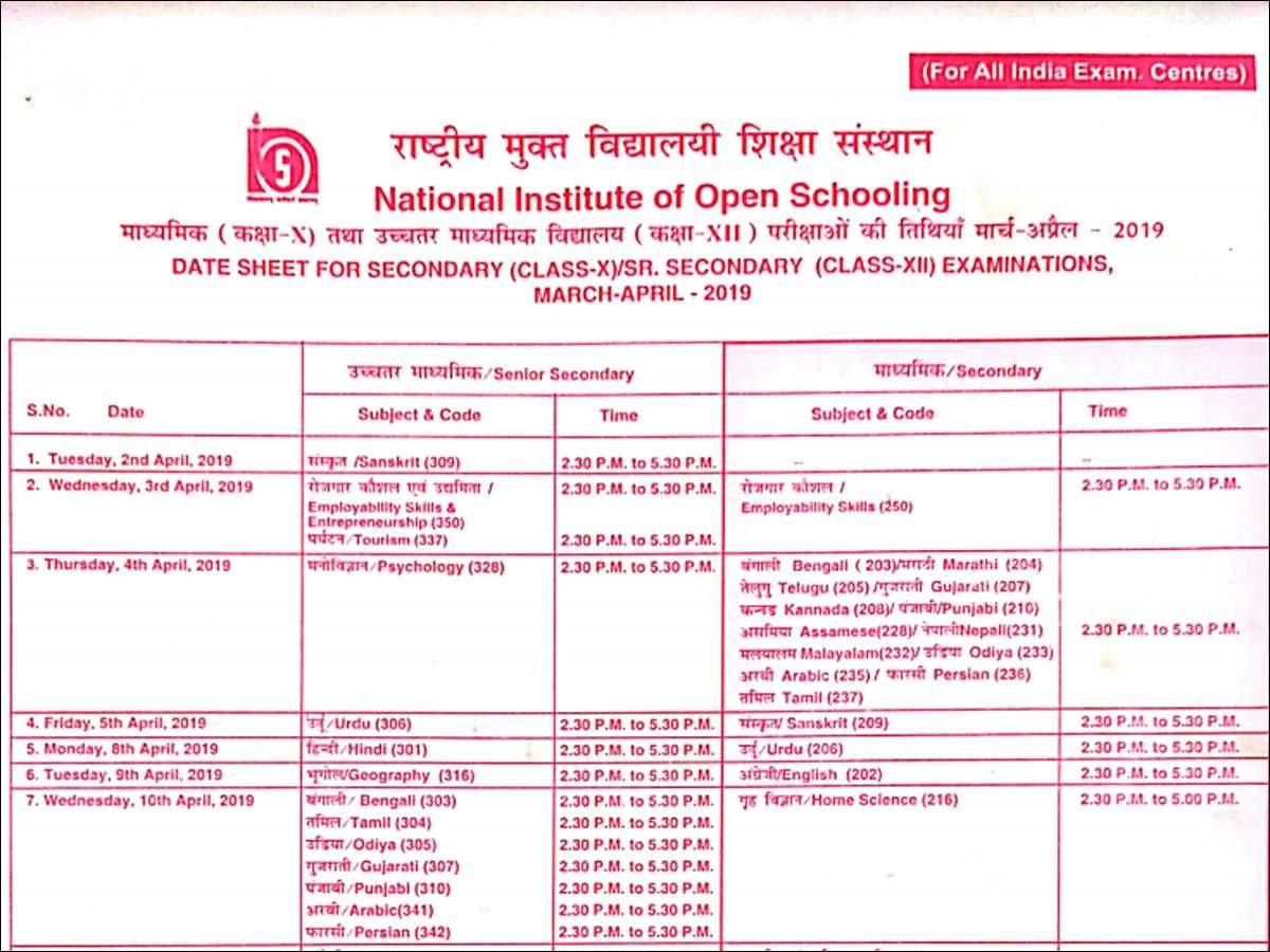 NIOS date sheet: NIOS Class 10th & 12th date sheet for 2019
