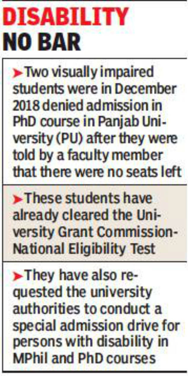 Follow rules to admit PwD to PhD courses, Panjab University