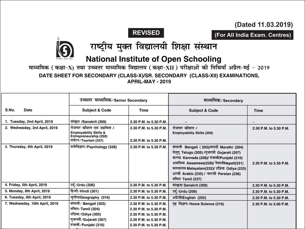 NIOS revises 10th & 12th April 2019 exam dates
