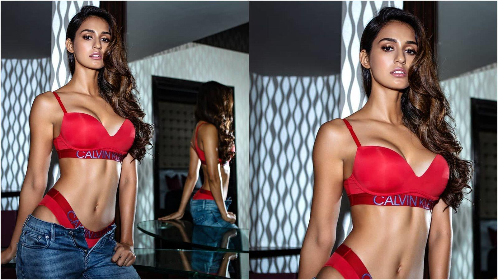 Disha Patani takes hotness to another level in this two piece red lingerie