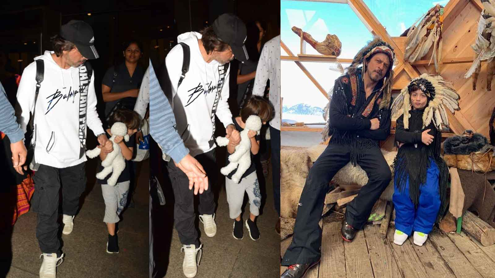 shah-rukh-khans-son-abram-hides-face-from-paps-gauri-khan-shares-pic-of-father-son-duo-as-native-americans