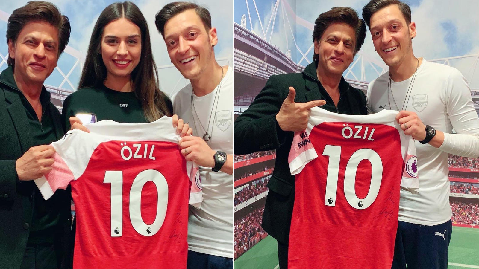 online retailer fc89a 9ba8c Shah Rukh Khan poses with Arsenal & German footballer Mesut Ozil in London,  invites him to India