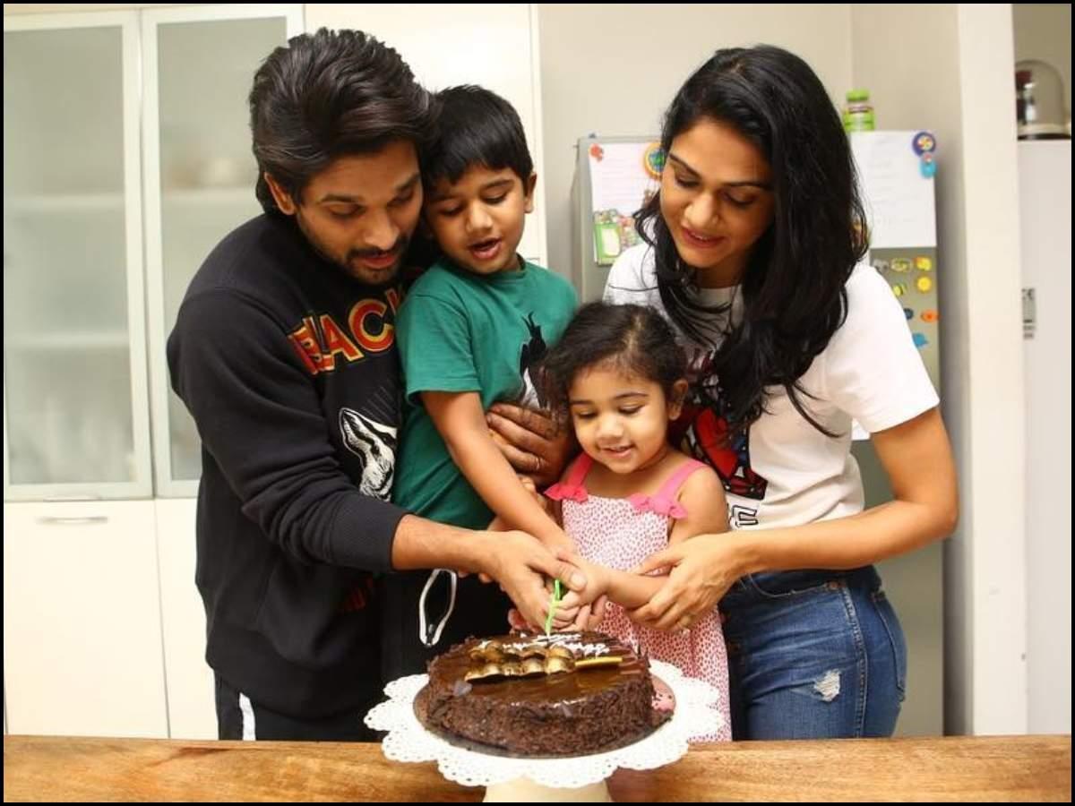 Terrific Cute Pic Allu Arjun Cuts Birthday Cake Along With Sneha Reddy Funny Birthday Cards Online Alyptdamsfinfo