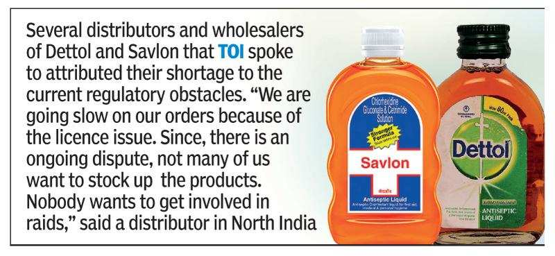 Regulatory issues hit Dettol and Savlon supply - Times of India