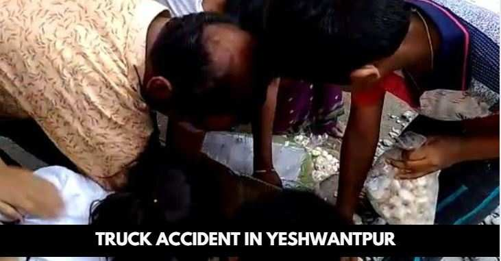 Image result for latest images of Two dead as truck falls off Yeshwantpur flyover
