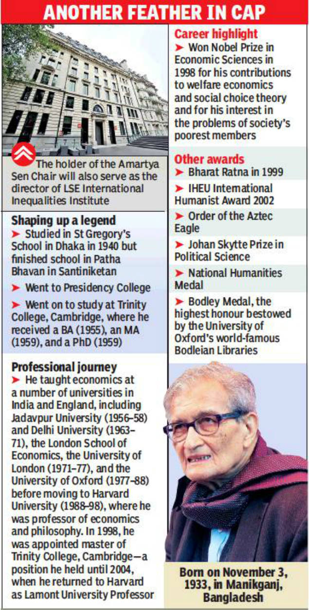 Amartya Sen Chair at LSE for research on inequality | Kolkata News