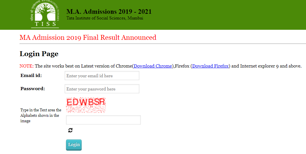 TISS Results 2019 for MA admission released @admissions tiss edu
