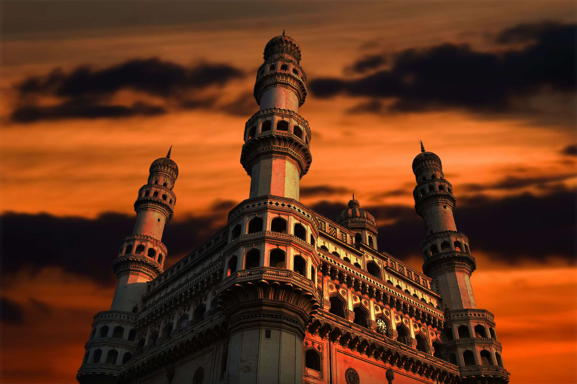 A portion of the beautiful Charminar breaks down