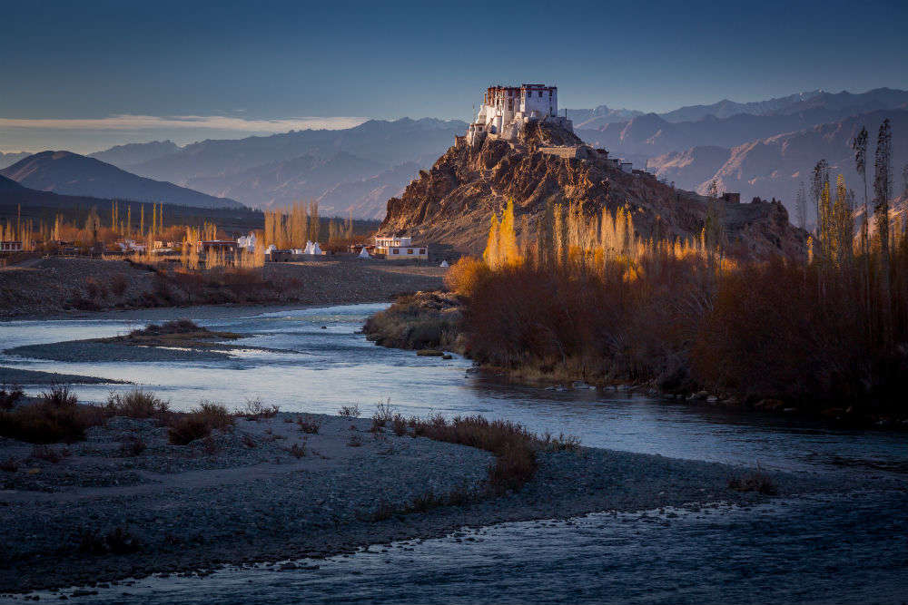 World famous Stakna monastery in Leh that resembles a Tiger's Nose