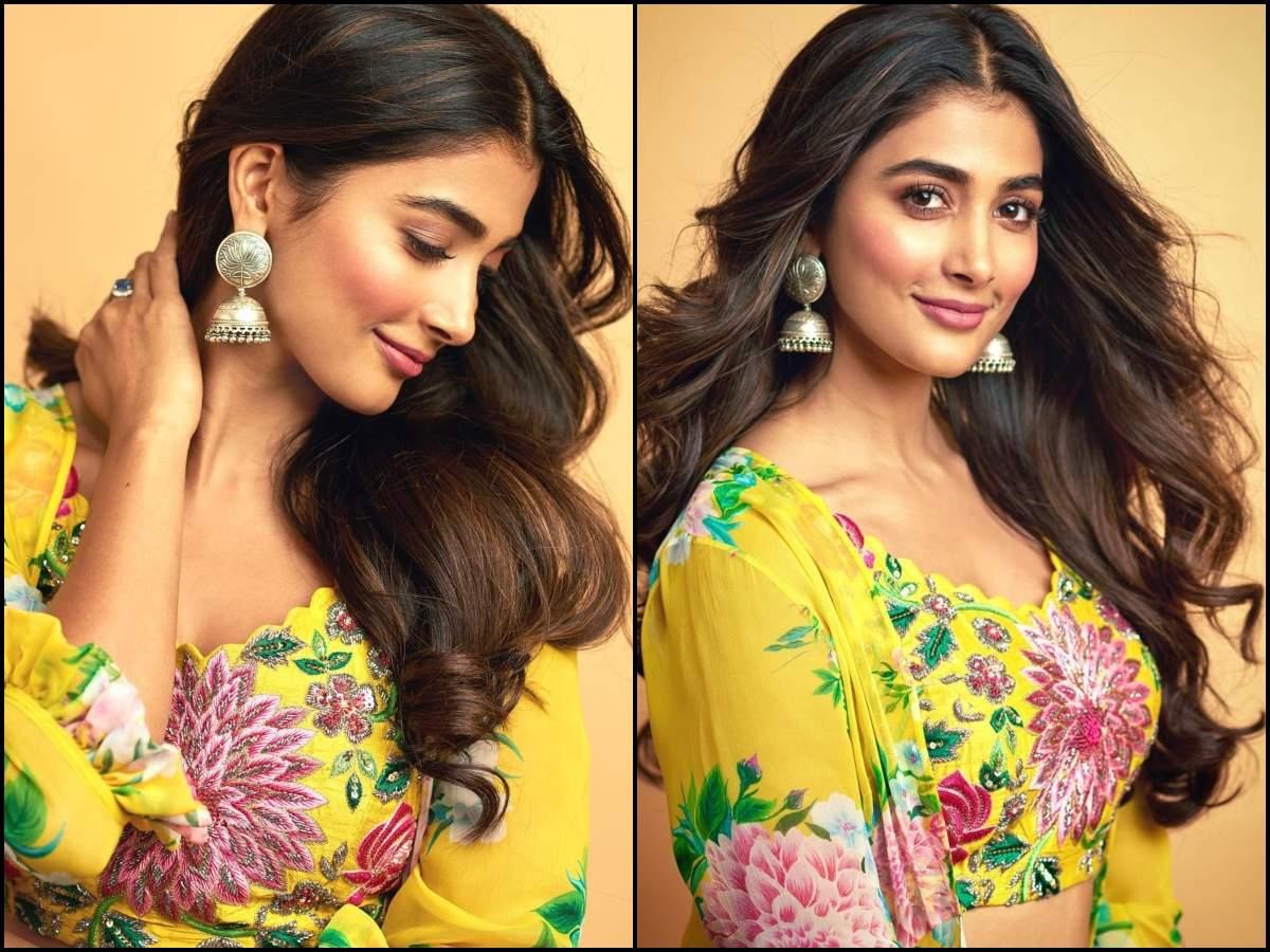 Gorgeous Alert! Pooja Hegde looks resplendent in a yellow floral