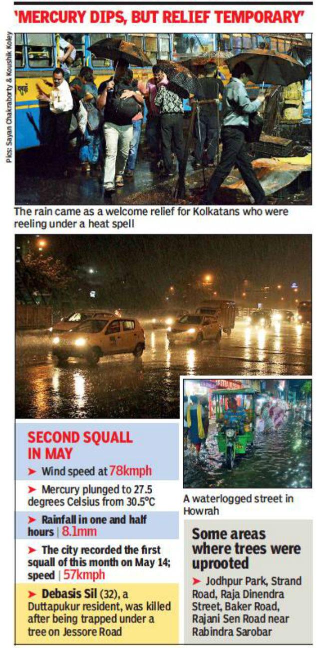 One dies as evening squall lashes Kolkata at 78kmph | Kolkata News