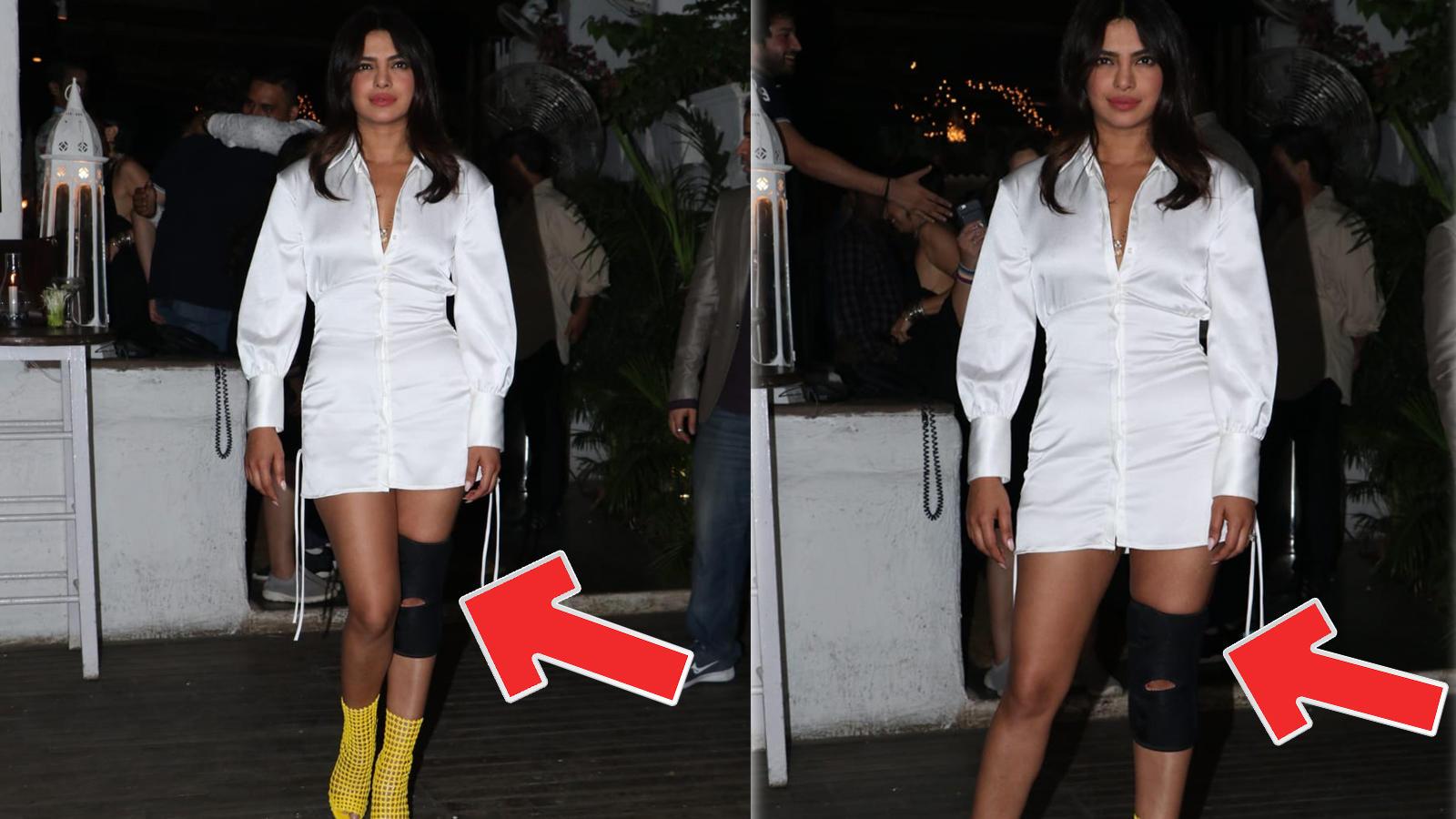 17f2dba758 Priyanka Chopra spotted with a knee brace, fans get worried if she's injured