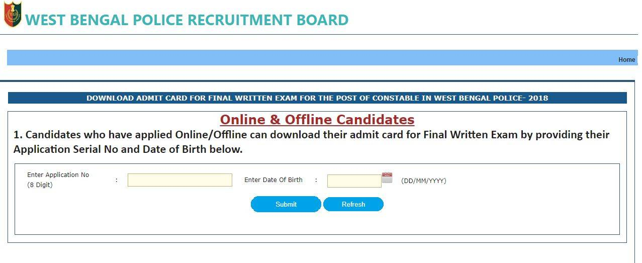 WB Police Constable final exam admit card 2019 released at wbpolice