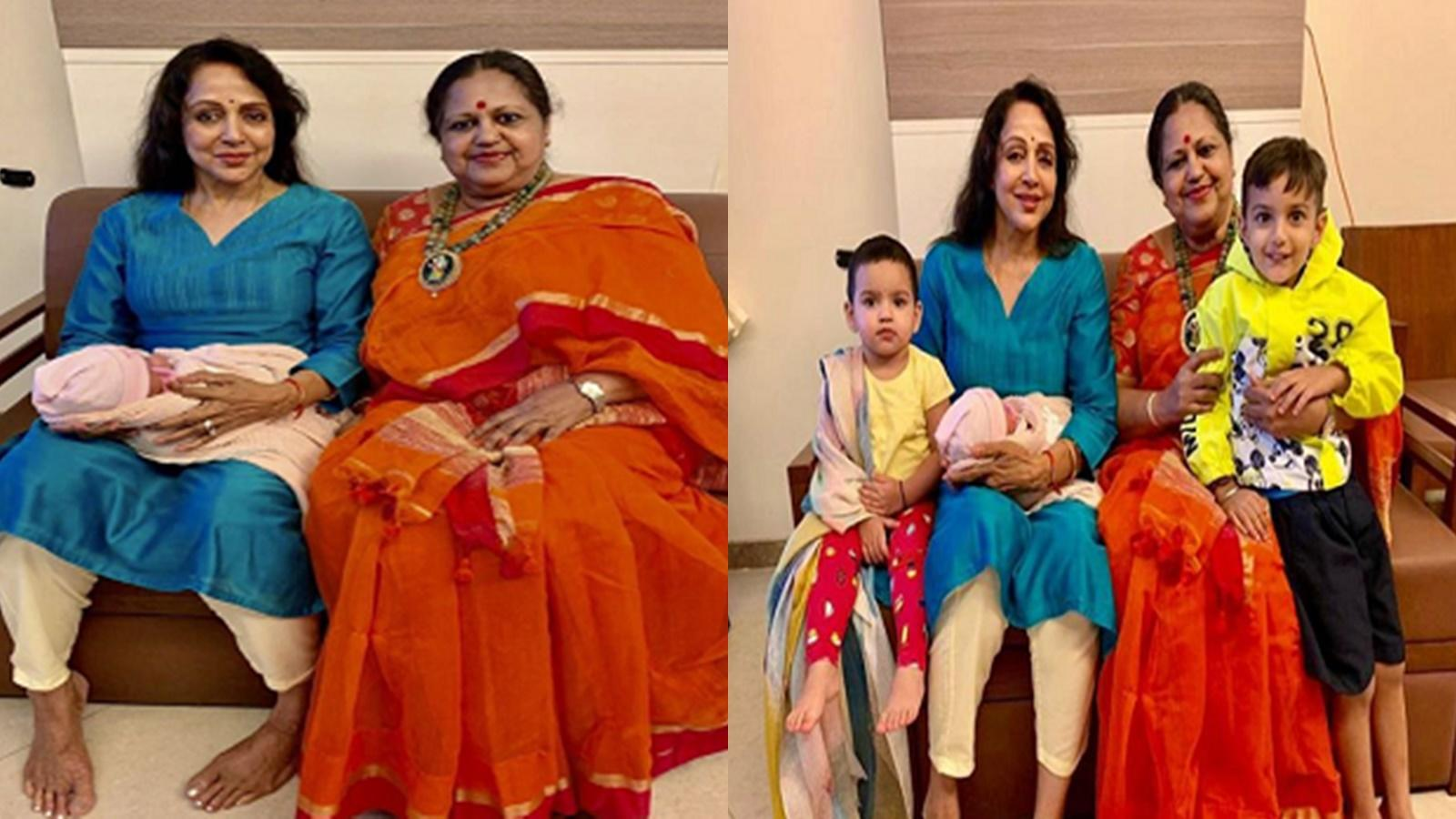 esha-deols-doctor-shares-cute-picture-of-newborn-miraya-with-naani-hema-malini