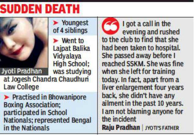 20-year-old boxer faints during practice, dies | Kolkata News