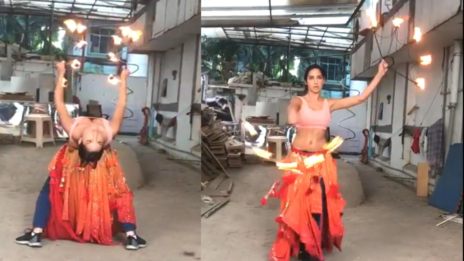 Watch: Nora Fatehi shares \'O Saki Saki\' fire dance BTS video