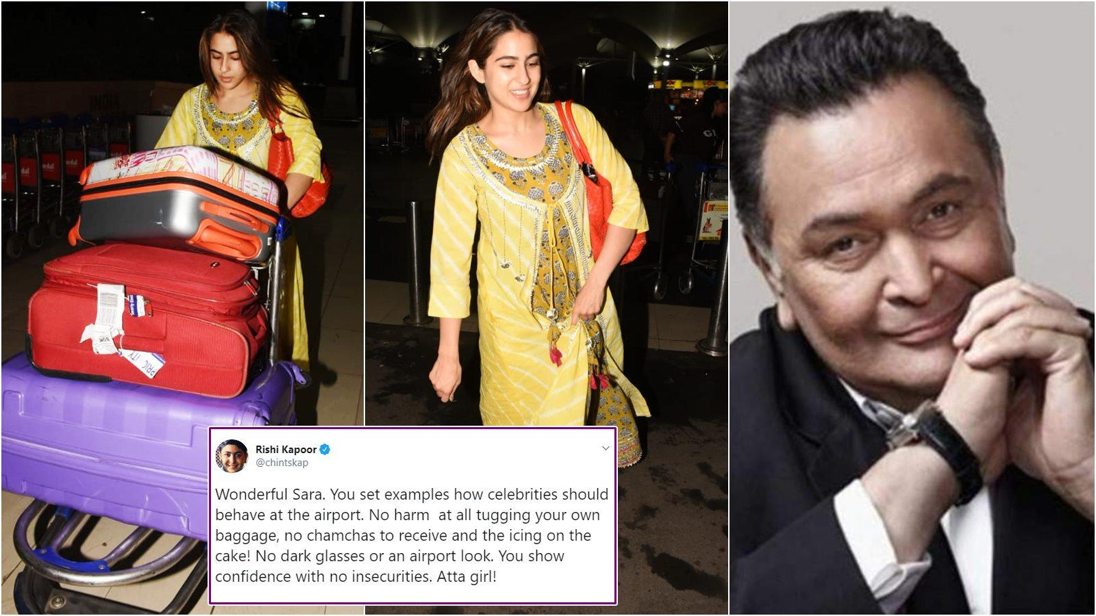 Sara Ali Khan's pic tugging her own luggage at the airport becomes viral,  Rishi Kapoor praises her
