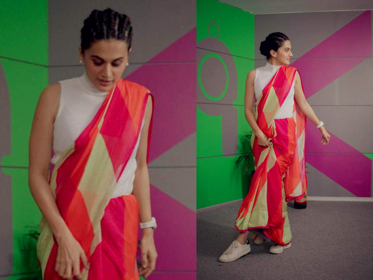 Image result for Taapsee Pannu just gave her sari a cool style twist!